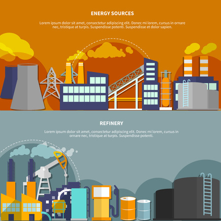 nuclear reactor: Industry set horizontal banners website design abstract isolated vector illustration Illustration