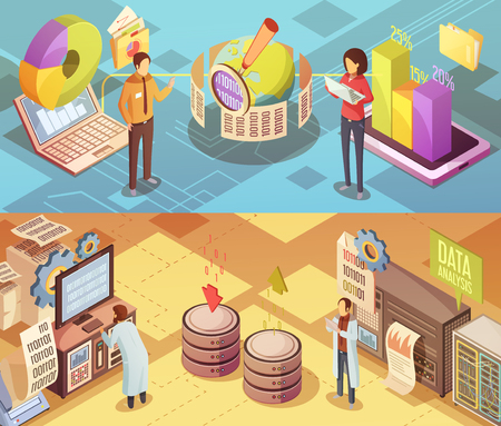 filtering: Data analysis isometric banners with staff computer equipment global information search charts and statistics isolated vector illustration Illustration