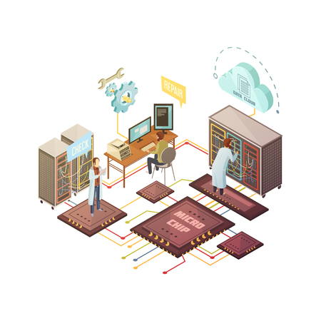 Server room with staff and equipment repair and support services cloud storage and microchips isometric vector illustration