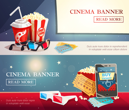viewer: Cinema entertainment flat horizontal banners with decorative elements of modern cinematography in retro style vector illustration