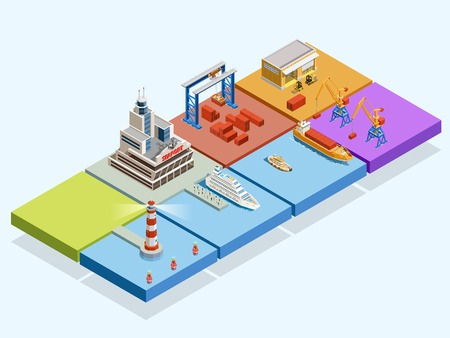 tug: Maritime logistic isometric concept with ships lighthouse port crane containers warehouse tug passengers vector illustration