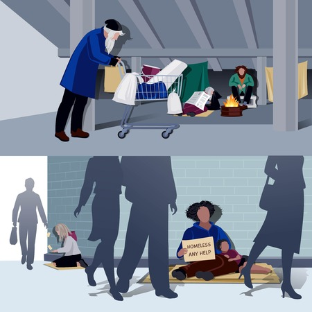 alms: Homeless people flat horizontal compositions of hungry begging alms and unemployed living in city tents vector illustration Illustration