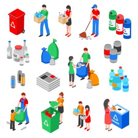 Huisvuil en plastiek die geïsoleerde beelden recycleren die met isometrische het afvalbakken van vuilnisbakcontainers en van mensenkarakters vectorillustratie worden geplaatst
