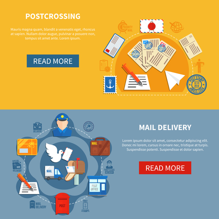 postal: Postal communication colorful horizontal banners with postcrossing and mail delivery in flat style isolated vector illustration