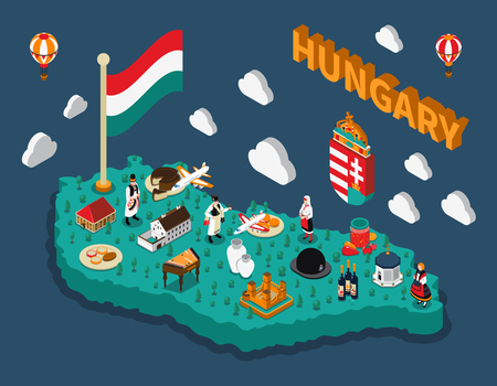touristic: Hungary isometric touristic map with hungarian flag buildings dishes and people in national costumes vector illustration