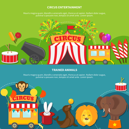 trained: Circus entertainment  and trained animals horizontal banner set flat isolated vector illustration Illustration