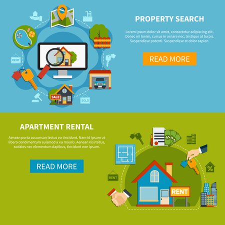 apartment search: Colorful horizontal real estate banners with property search and apartment rental icons flat isolated vector illustration
