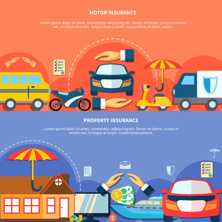 Car and property protection horizontal banners with different types of vehicle house money insurance vector illustration