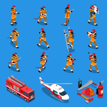 Fireman isometric set of firefighters in different situations truck helicopter extinguisher axe hose helmet isolated vector illustration Illustration