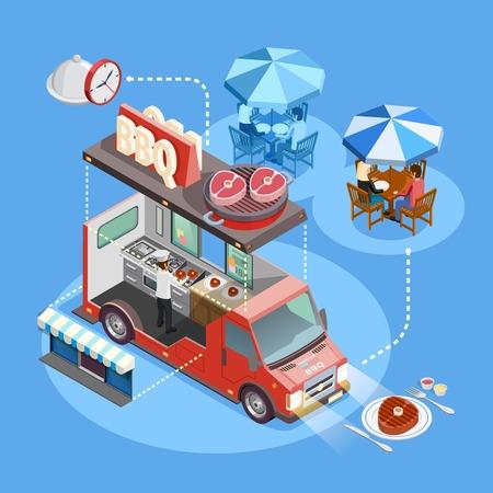 BBQ voedsel vrachtwagen interieur met koken eigenaar menu en lunchen klanten isometrische cirkel samenstelling poster vector illustratie