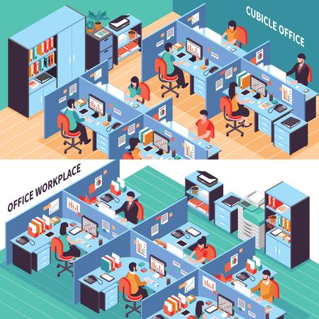 Dos espacios abiertos banners horizontales isométricos con la gente que trabaja en la oficina de cubículos ilustración vectorial