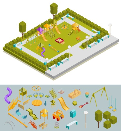 Colored 3d isometric playground composition with ready layout a landscaped playground and isolated elements at the bottom vector illustration Illustration