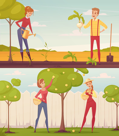 people  male: Set of two rectangular gardener farmer cartoon people colorful compositions with young male and female characters vector illustration Illustration