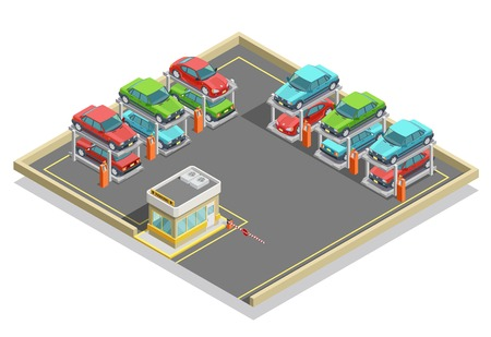positioning: Automatic parking isometric concept with colorful cars positioning in two lines and stages vector illustration