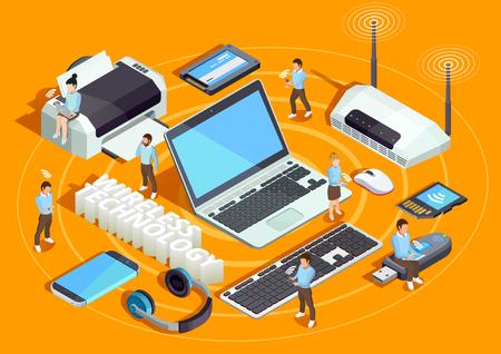 Technologie sans fil, appareils électroniques, composition isométrique, affiche avec imprimante portable, routeur et utilisateurs de smartphone, fond orange, illustration vectorielle