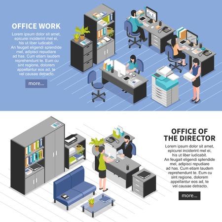 2 つの水平方向の職場バナー等尺性オフィス家具機械編集可能なテキストに設定や複数ボタンのベクトル図を読む