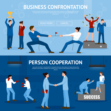 constructive: Constructive business confrontation and productive cooperation for success 2 flat horizontal banners website design isolated vector illustration