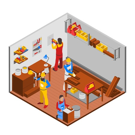 woodwork: Woodwork workshop isometric concept with people equipment and workers vector illustration