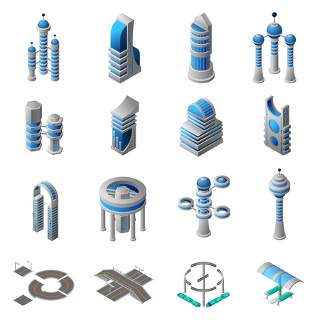 Future city isometric icons set of conceptual building of futuristic construction and architecture isolated vector illustration Illustration