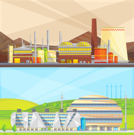 power industry: Eco clean industry converting waste to energy and using wind power 2 flat isolated banners vector illustration
