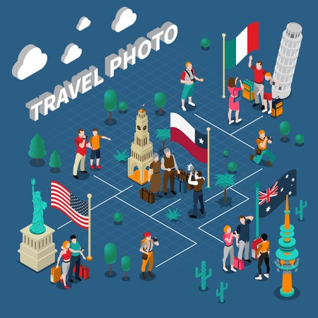 Journey people isometric template with tourists photographing in different countries near various sights vector illustration