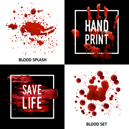 splutter: Save life awareness concept 4 square icons poster design with blood splatters bloodstains and handprint isolated vector illustration