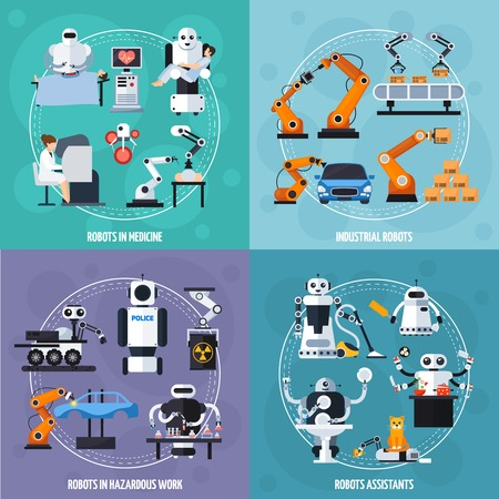 industrial robots: Robots concept icons set with industrial robots symbols flat isolated vector illustration