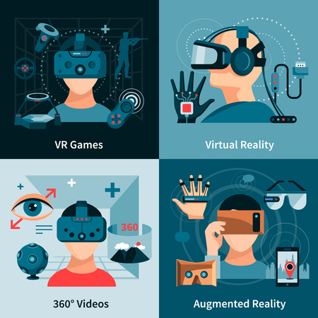 real people: Virtual reality flat concept with people wearing optical innovative devices for real visualisation and simulation vector illustration