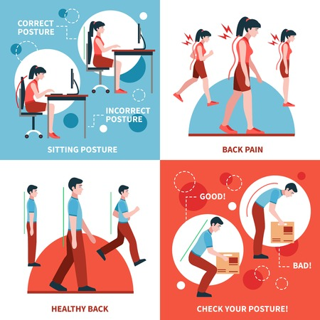 posture corrette e non corrette per la schiena e la colonna vertebrale sano concetto di 2x2 disegno di piatto isolato illustrazione vettoriale