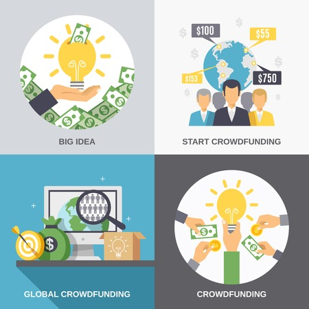 Crowdfunding 2x2 design concept with business idea finance investment and global donation icons compositions flat vector illustration
