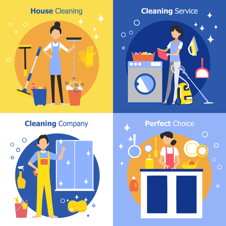 woman work: Cleaning people concept with housewife maid and company worker in flat style vector illustration