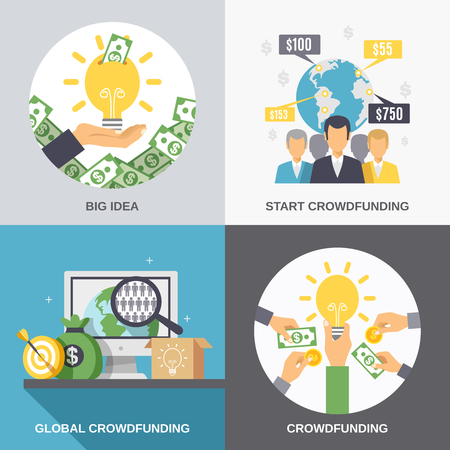 initiator: Crowdfunding 2x2 design concept with business idea finance investment and global donation icons compositions flat vector illustration
