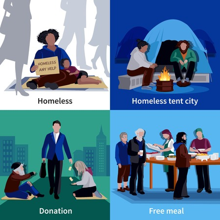 Homeless people 2x2 design concept with hungry beggar sitting on sidewalk man making donation free meal flat vector illustration Ilustração
