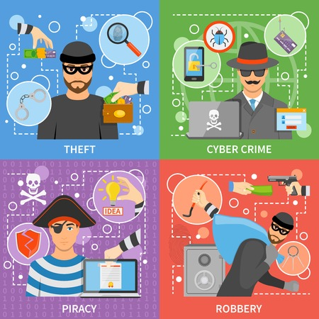 stealing: Flat crime concept with property money theft virus attack threats intellectual information stealing vector illustration Illustration