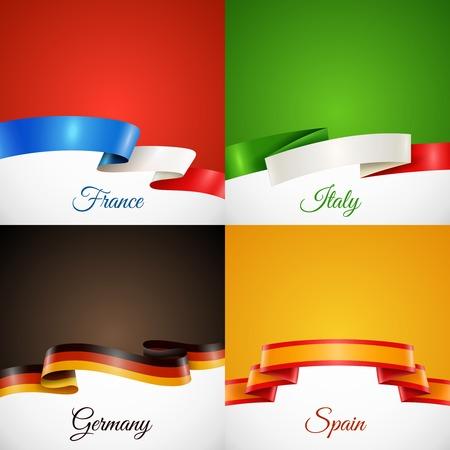 Oznacz projekt wstążka koncepcja ikony ustaw z Francja Włochy Niemcy i Hiszpania symboli płaskie pojedyncze ilustracji wektorowych