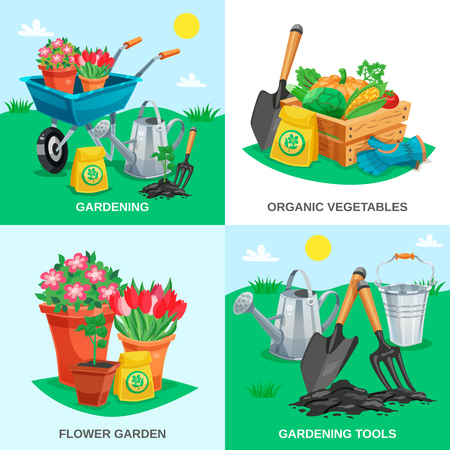 Garden 2x2 design concept set of organic vegetables garden flowers tools and inventory colored compositions flat vector illustration Illustration
