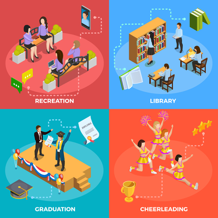 University students 4 isometric icons square poster with recreation graduation cheerleading and library moments isolated vector illustration Illustration