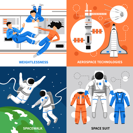 aerospace: Astronauts in space and aerospace technologies 2x2 design concept on colorful backgrounds flat isolated vector illustration