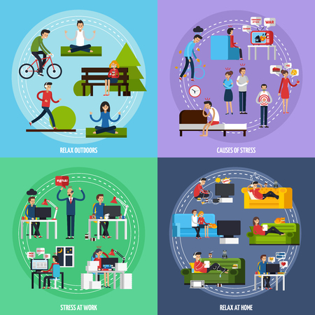 overload: Stress and relax template with stressful situations and ways of relaxation in flat style vector illustration