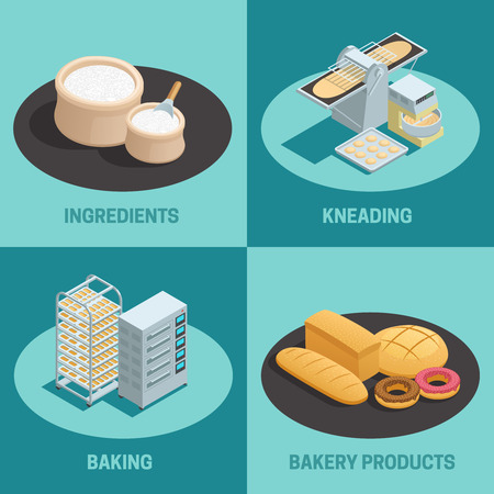 kneading: Four bakery factory isometric icon set with ingredients kneading baking and bakery products descriptions vector illustration