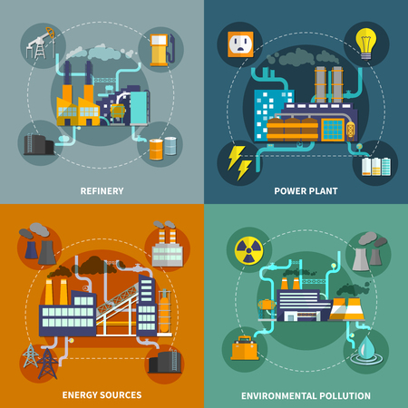 illustration industry: Industry 4 flat icons square composition abstract isolated vector illustration Illustration