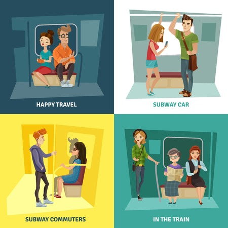 listening to music: Subway people concept icons set with commuters symbols flat isolated vector illustration Illustration