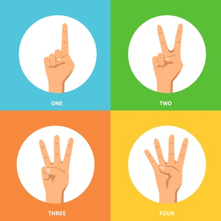 Counting one two three four hands signs 2x2 design concept on colorful backgrounds flat isolated vector illustration