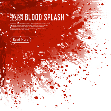 Big realistische Blut spritzen Ecke auf weißem Hintergrund Website-Design Plakat mit mehr Schaltfläche Vektor-Illustration lesen