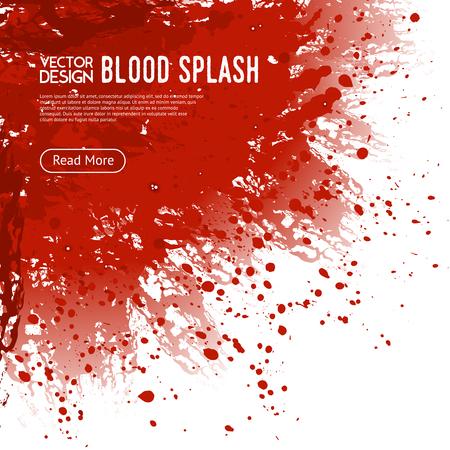 Big realistic blood splash corner on white background webpage design poster with read more button vector illustration Illustration