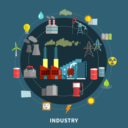 industry design: Industry concept with set abstract and design isolated vector illustration