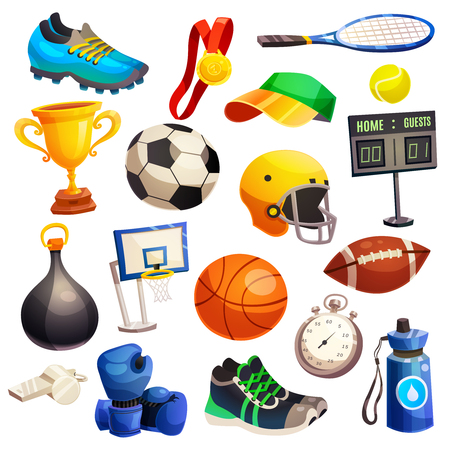 Sport inventory decorative icons set with basketball soccer rugby balls boxing gloves  tennis racket isolated flat vector illustration Illustration