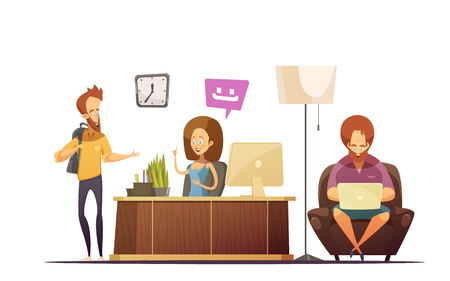 Hostel reception cartoon design concept with administrator talking with visitors at workplace flat vector illustration Illustration