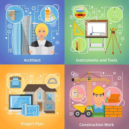 drafting: Architect 2x2 design concept set of project plan drafting tools and construction work icons compositions flat vector illustration Illustration