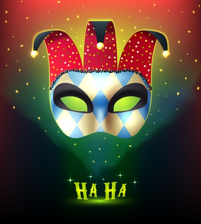 stranger: Masquerade background with realistic joker mask splendid on colorful stellar background with cartoon style mysterious lights vector illustration